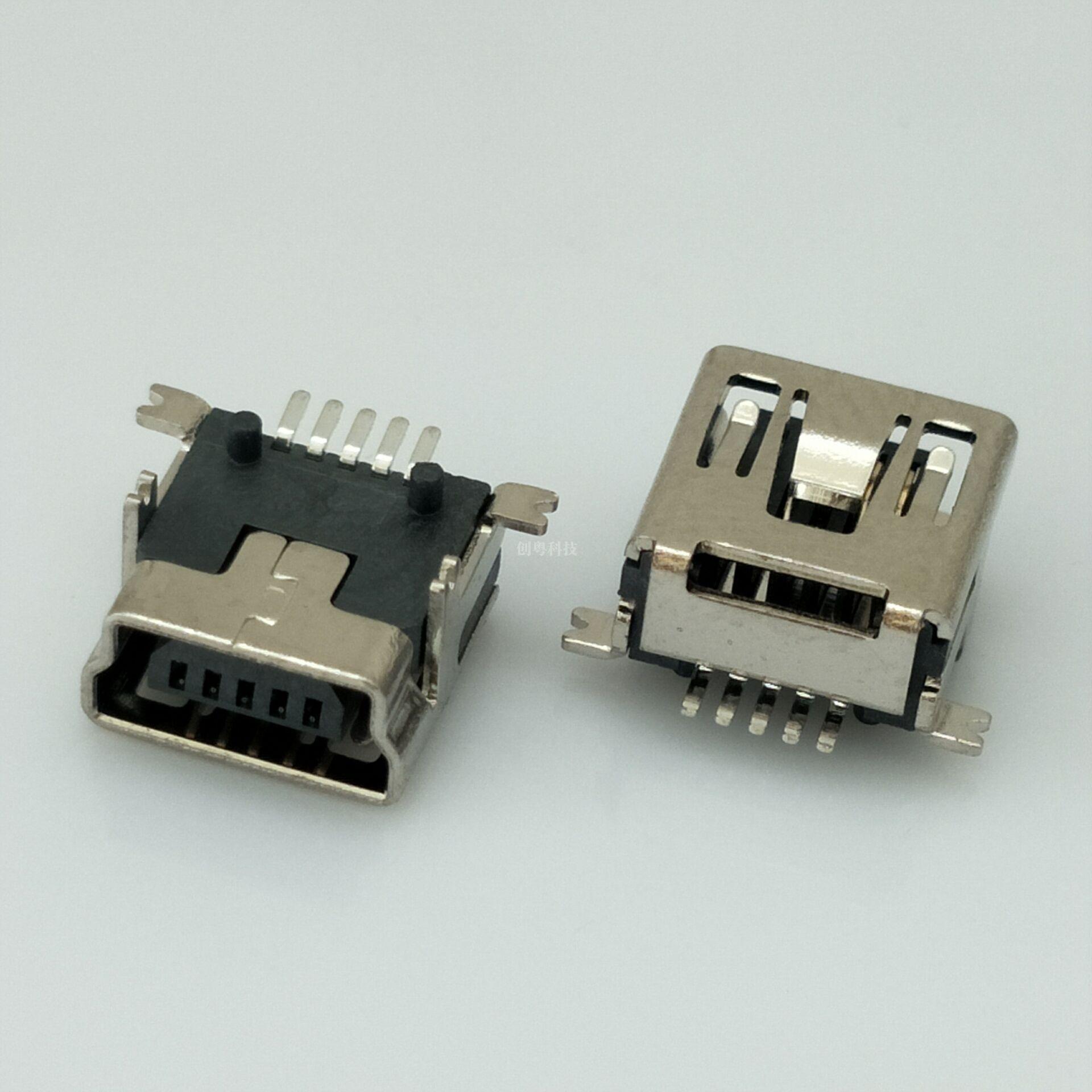 MINI USB 前插后贴母座
